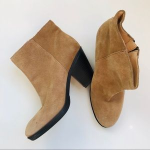 Enzo Angiolini Tan Suede Chunky Heel Ankle Booties